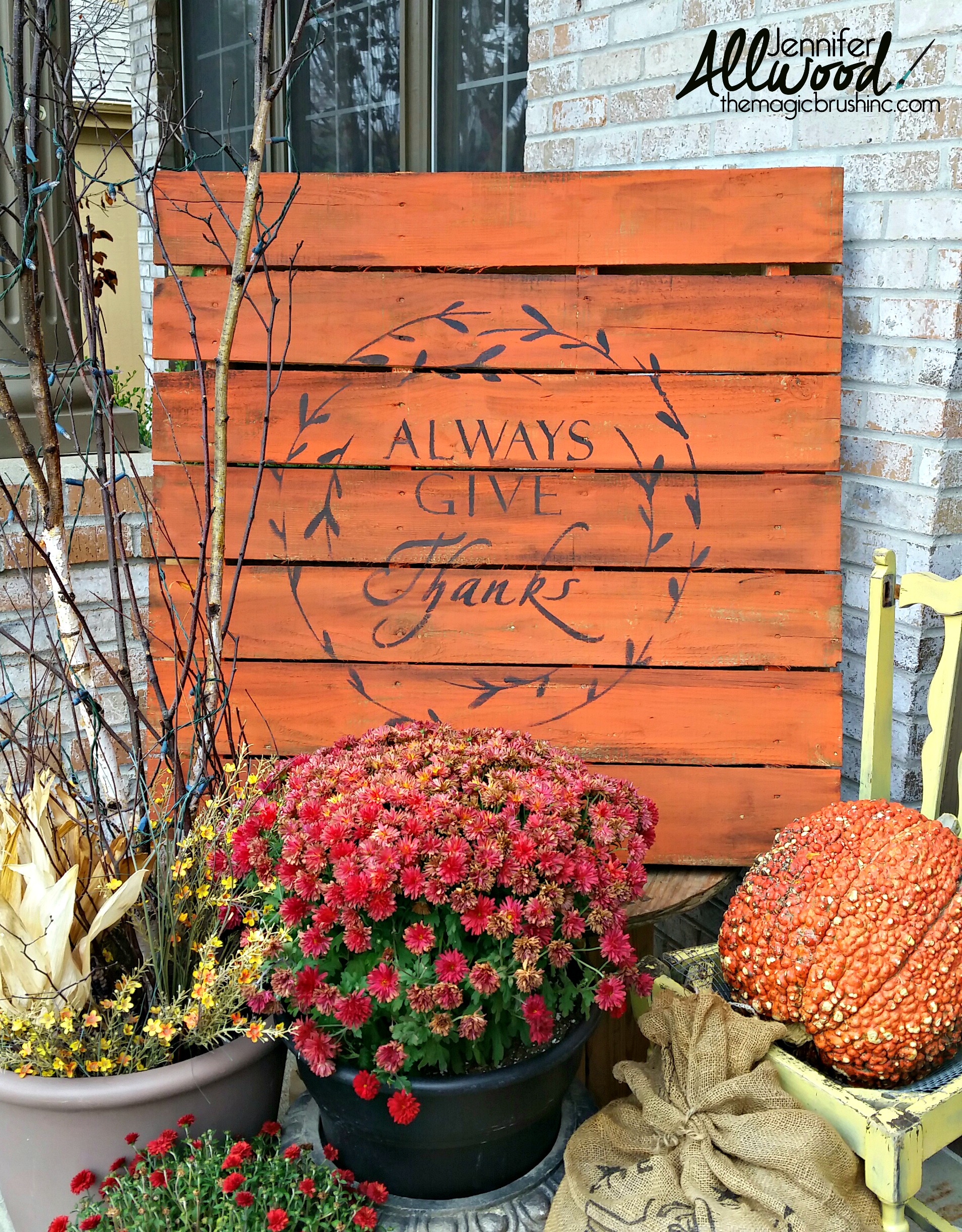 """Always Give Thanks"" fall pallet"