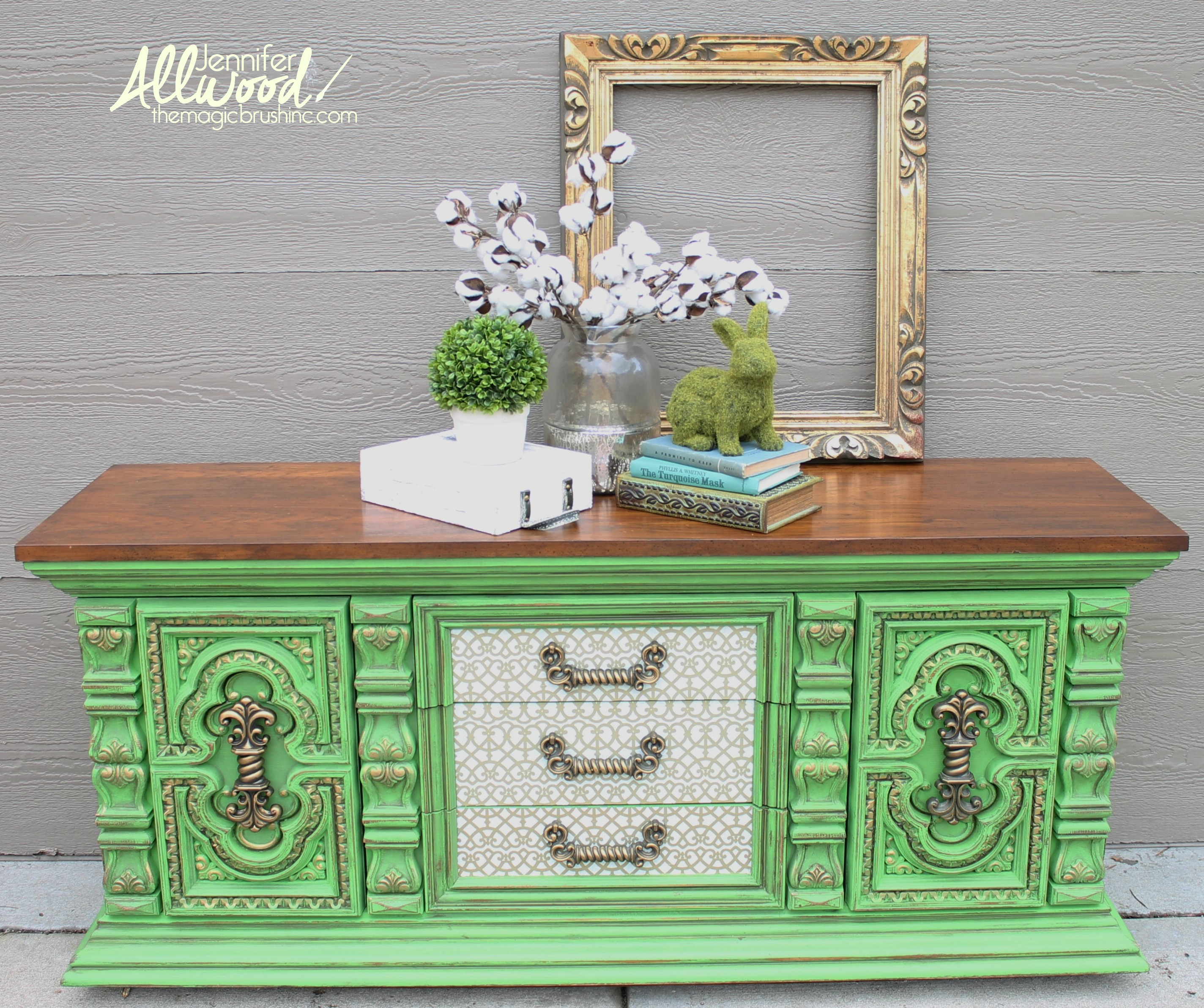 Bold green dresser makeover with decoupage drawers