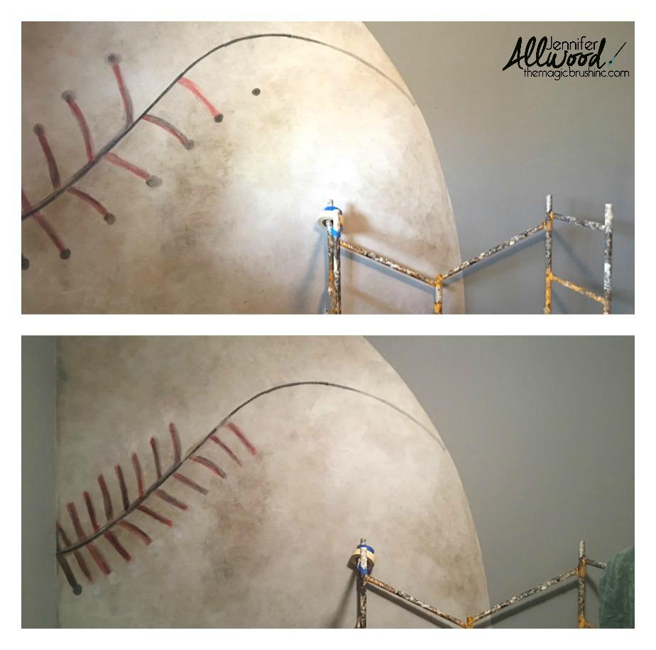 Baseball Mural stitches