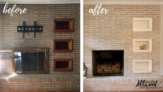 Painted Brick Fireplace Before & After | The Magic Brush