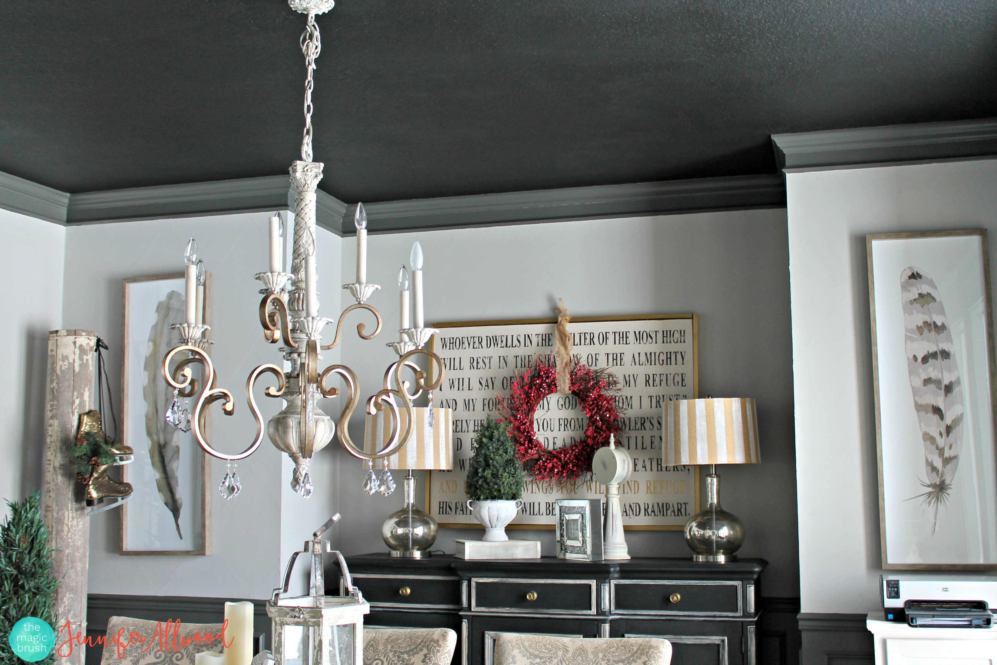 We painted our dining ceiling BLACK…. and I am obsessed!