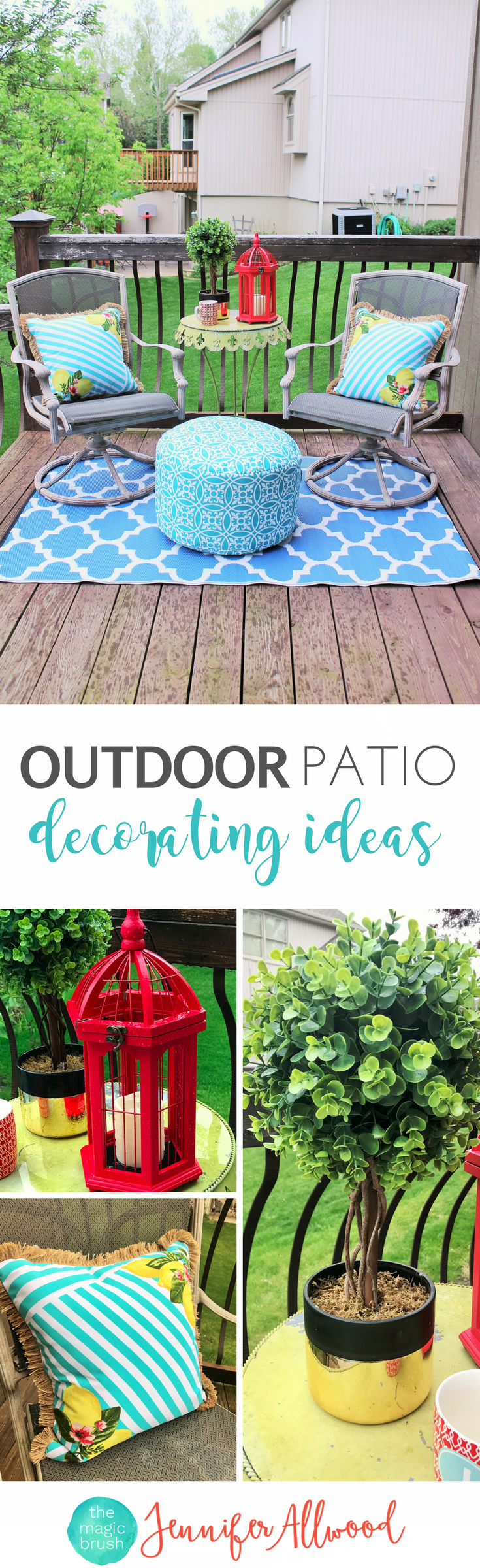 Outdoor Patio Decor by Jennifer Allwood | Patio Decorating Ideas + Outdoor Pouf + Blue + Yellow Decor + Porch Decor + Red Lantern + Topiary Decor