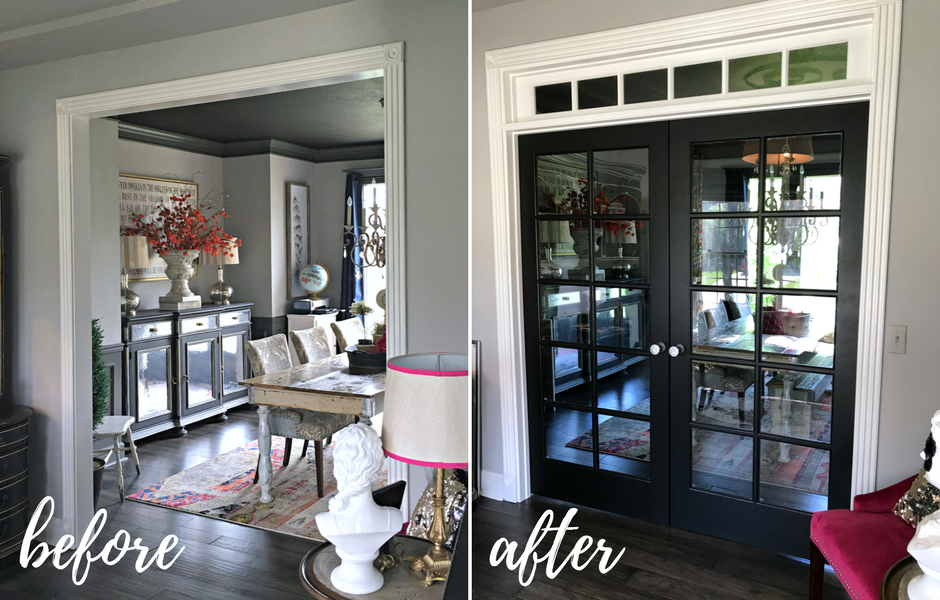 Painted Black French Doors Before and After