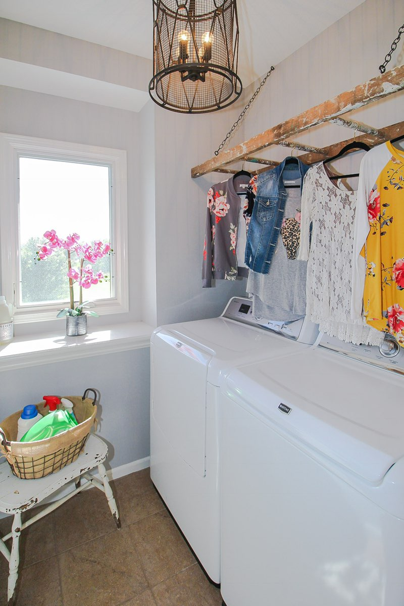 Laundry Room Clothes Hanger Solution From A Repurposed Ladder