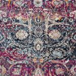 colorful rug with pink, blue, and beige by jennifer allwood