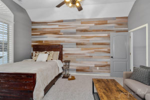 rustic wood wall in teenage sons bedroom by jennifer allwood