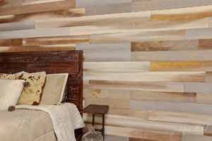 closeup view of wood wall in teenage sons bedroom by jennifer allwood