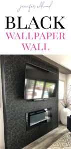Black wallpaper wall with fireplace insert